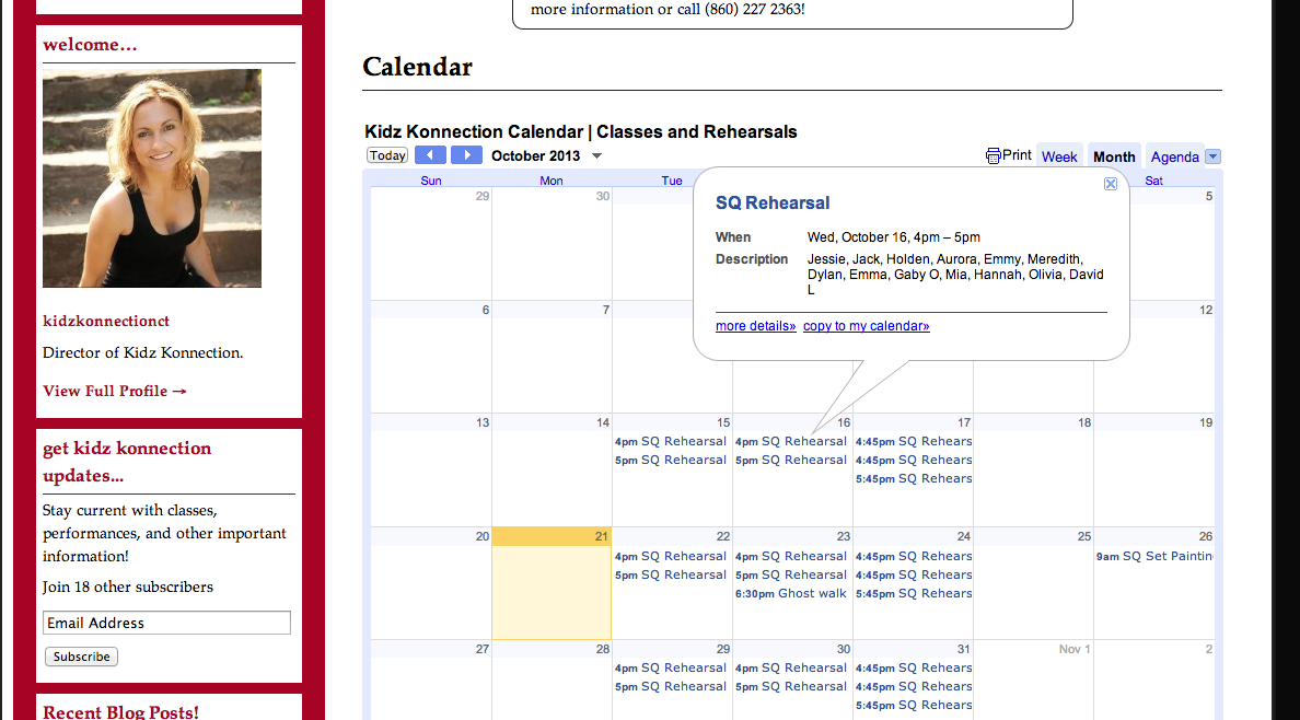 calendar for web site