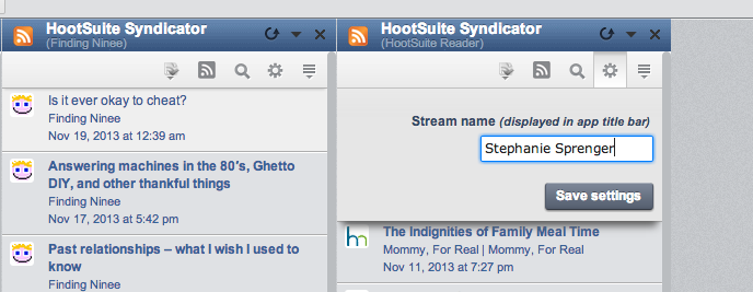Then when it's added in your tabs on Hootsuite, you can label each stream with the blogger's name.