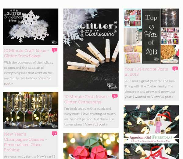 Pinterest-type grid is great for craft bloggers!