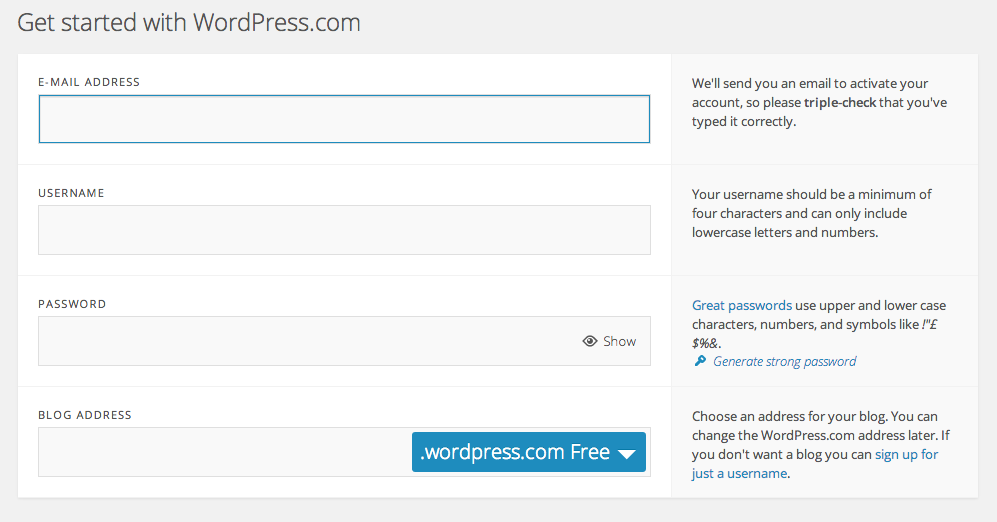 Setting up on the Free WordPress.com